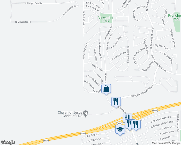 map of restaurants, bars, coffee shops, grocery stores, and more near 7054 East Pinnacle Pass Loop in Prescott Valley
