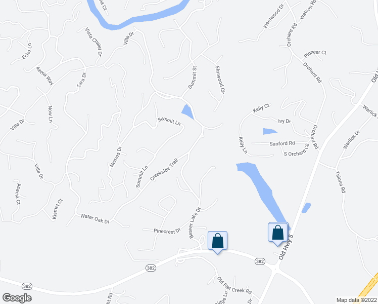 map of restaurants, bars, coffee shops, grocery stores, and more near Beaver Lake Drive in Ellijay