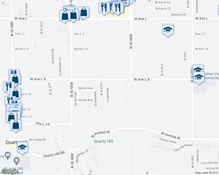 map of restaurants, bars, coffee shops, grocery stores, and more near 42308 Klamath Lane in Quartz Hill