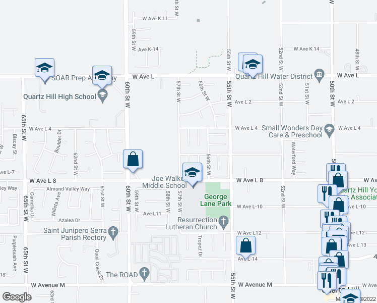 map of restaurants, bars, coffee shops, grocery stores, and more near 5645 West Avenue L-6 in Lancaster