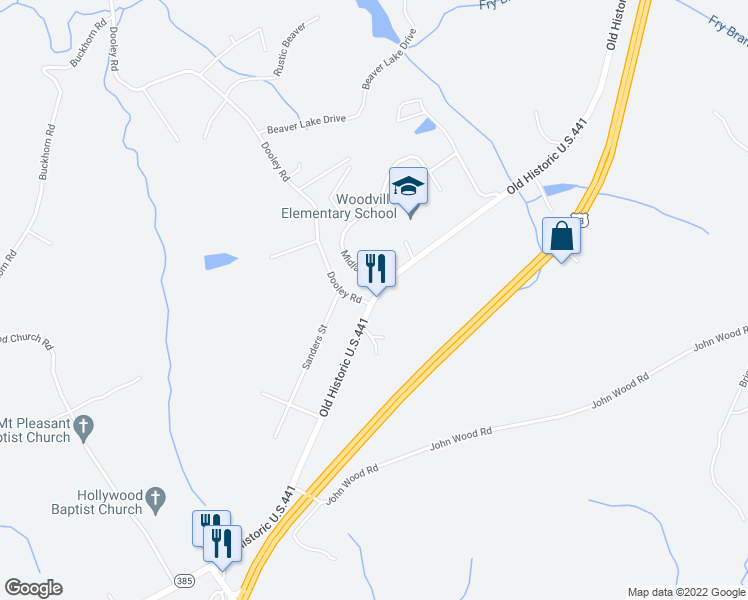 map of restaurants, bars, coffee shops, grocery stores, and more near 886 Old Historic U.S.441 in Clarkesville