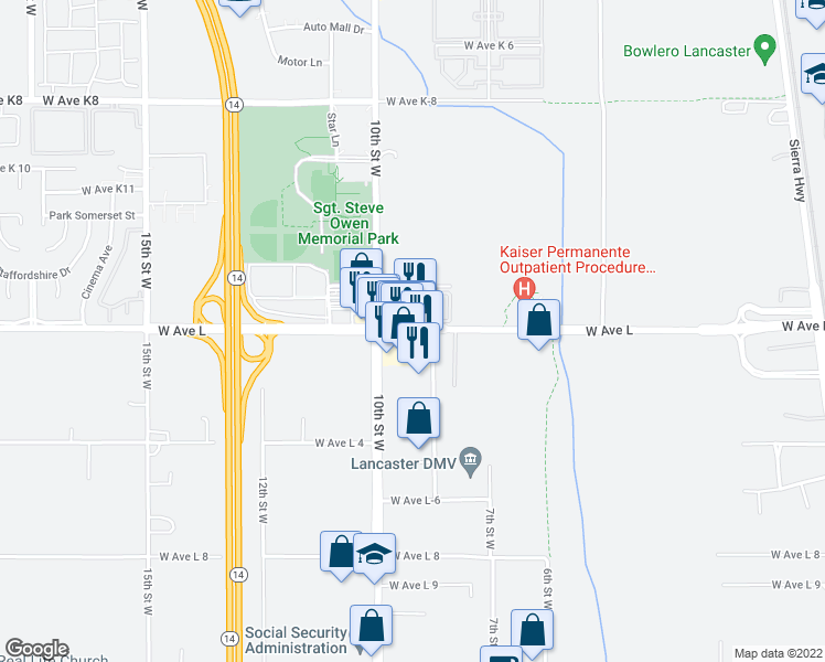map of restaurants, bars, coffee shops, grocery stores, and more near 808 West Avenue L in Lancaster
