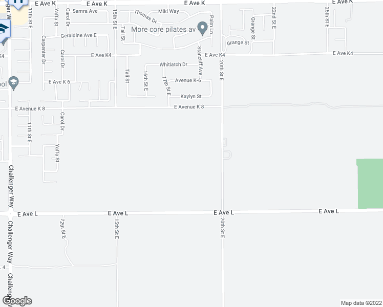 map of restaurants, bars, coffee shops, grocery stores, and more near 43039 20th Street East in Lancaster