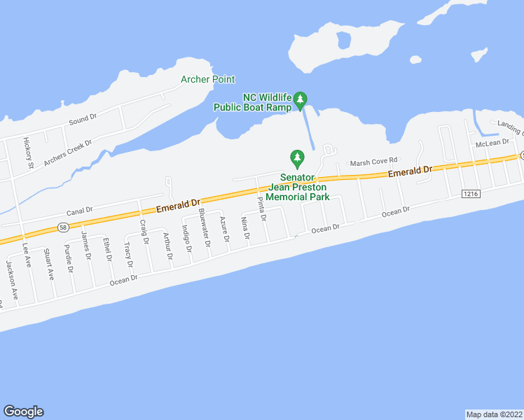 map of restaurants, bars, coffee shops, grocery stores, and more near Pinta Drive in Emerald Isle