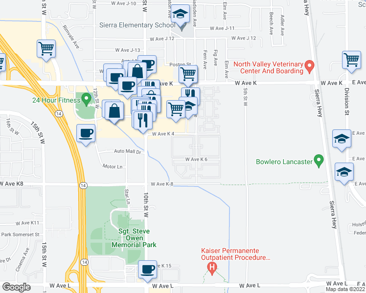 map of restaurants, bars, coffee shops, grocery stores, and more near 43339 Gadsden Avenue in Lancaster