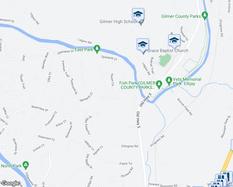 map of restaurants, bars, coffee shops, grocery stores, and more near Seneca Way in Ellijay