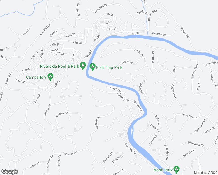 map of restaurants, bars, coffee shops, grocery stores, and more near 1-5 River Street in Ellijay