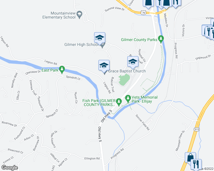map of restaurants, bars, coffee shops, grocery stores, and more near Bobcat Trail in Ellijay