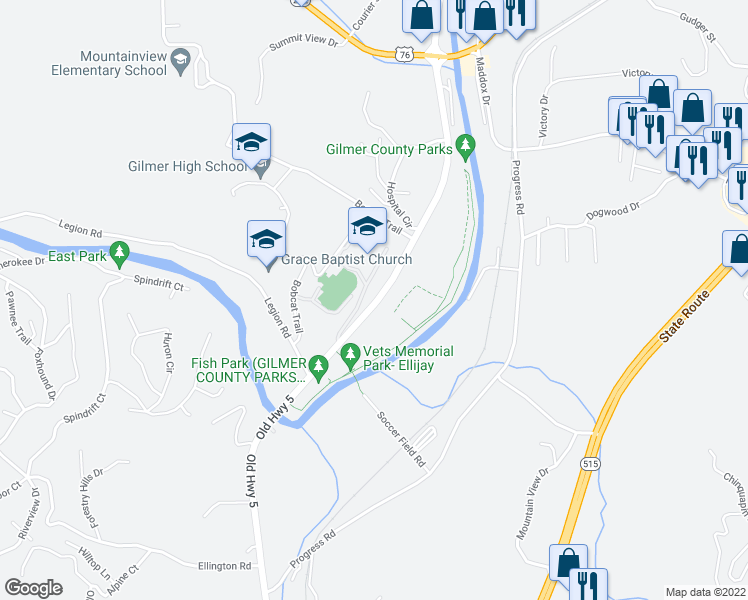 map of restaurants, bars, coffee shops, grocery stores, and more near 2293 Old Highway 5 South in Ellijay