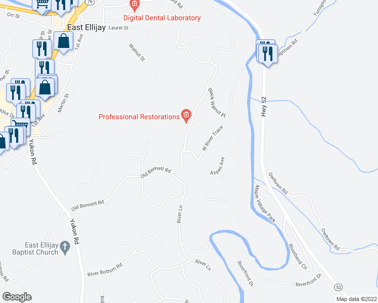 map of restaurants, bars, coffee shops, grocery stores, and more near Aspen Avenue in Ellijay