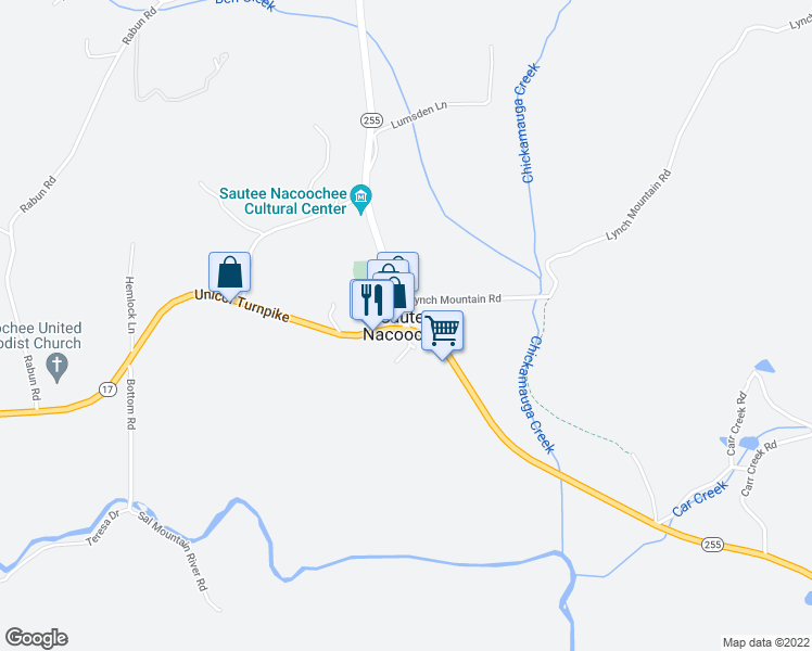 map of restaurants, bars, coffee shops, grocery stores, and more near in Sautee Nacoochee