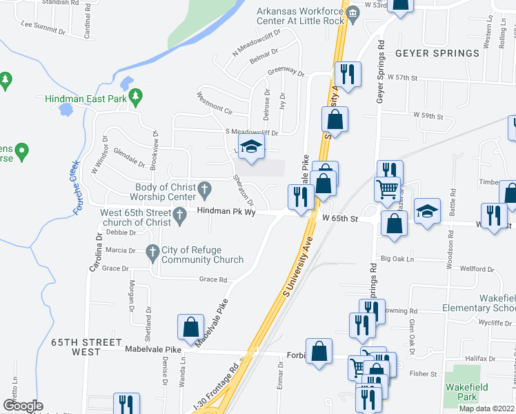 map of restaurants, bars, coffee shops, grocery stores, and more near 11 Hanover Drive in Little Rock