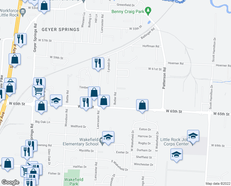 map of restaurants, bars, coffee shops, grocery stores, and more near 6320 Butler Road in Little Rock
