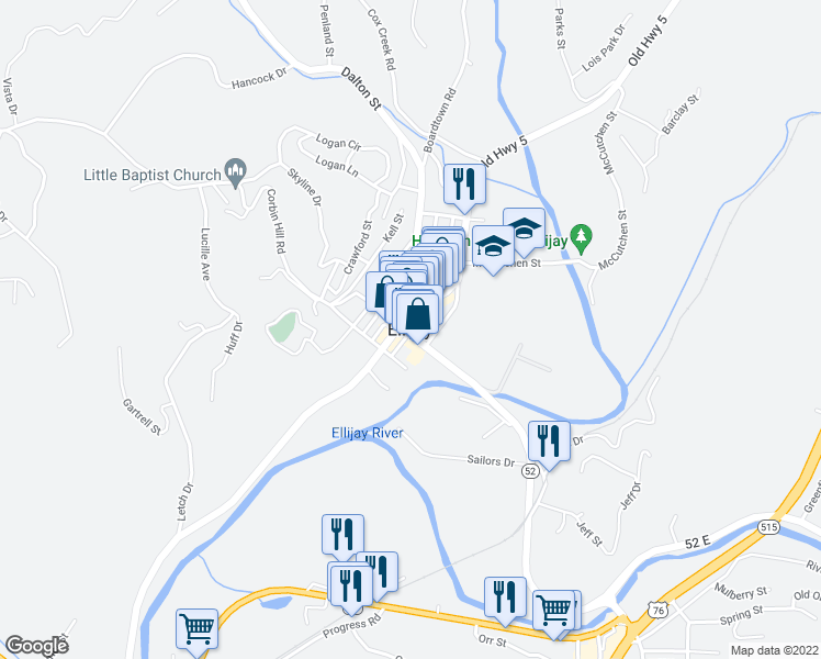 map of restaurants, bars, coffee shops, grocery stores, and more near 2-16 North Church Street in Ellijay