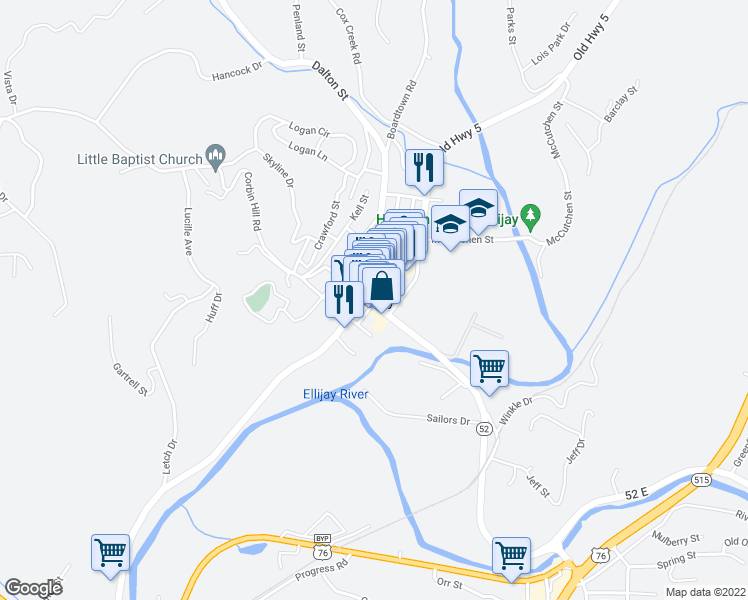 map of restaurants, bars, coffee shops, grocery stores, and more near Summit View Drive in Ellijay