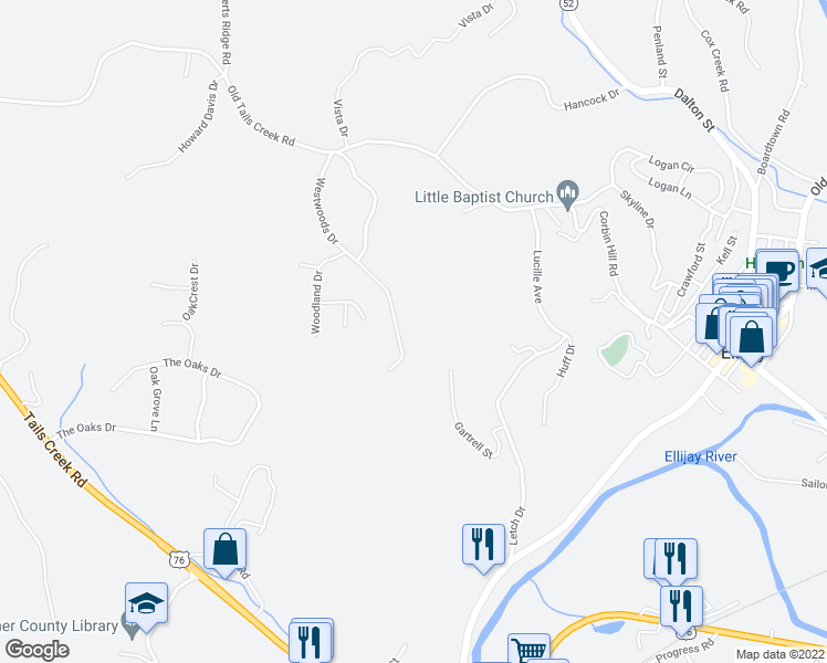 map of restaurants, bars, coffee shops, grocery stores, and more near 465 Westwoods Drive in Ellijay