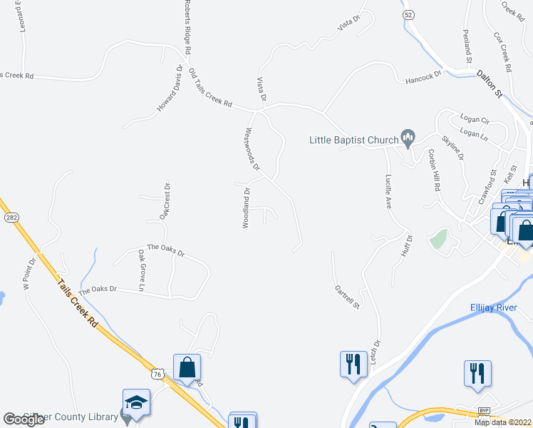 map of restaurants, bars, coffee shops, grocery stores, and more near 20 Alpine Drive in Ellijay