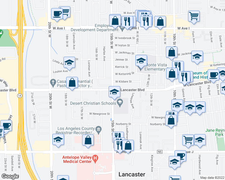 map of restaurants, bars, coffee shops, grocery stores, and more near 15th Street West & West Lancaster Boulevard in Lancaster