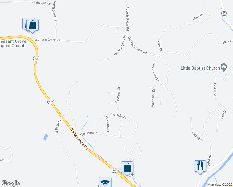 map of restaurants, bars, coffee shops, grocery stores, and more near 36 Fife Villa Court in Ellijay