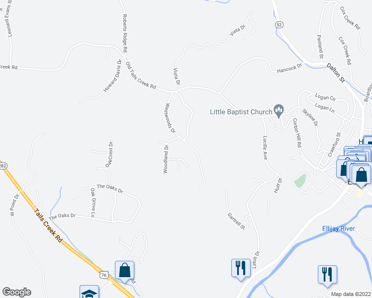 map of restaurants, bars, coffee shops, grocery stores, and more near 300 Westwoods Drive in Ellijay
