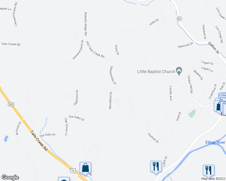map of restaurants, bars, coffee shops, grocery stores, and more near 94 Woodland Drive in Ellijay