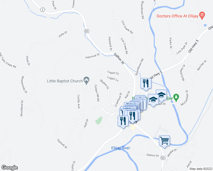 map of restaurants, bars, coffee shops, grocery stores, and more near 269 Skyline Drive in Ellijay