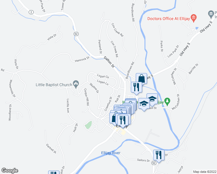map of restaurants, bars, coffee shops, grocery stores, and more near 73 Logan Lane in Ellijay