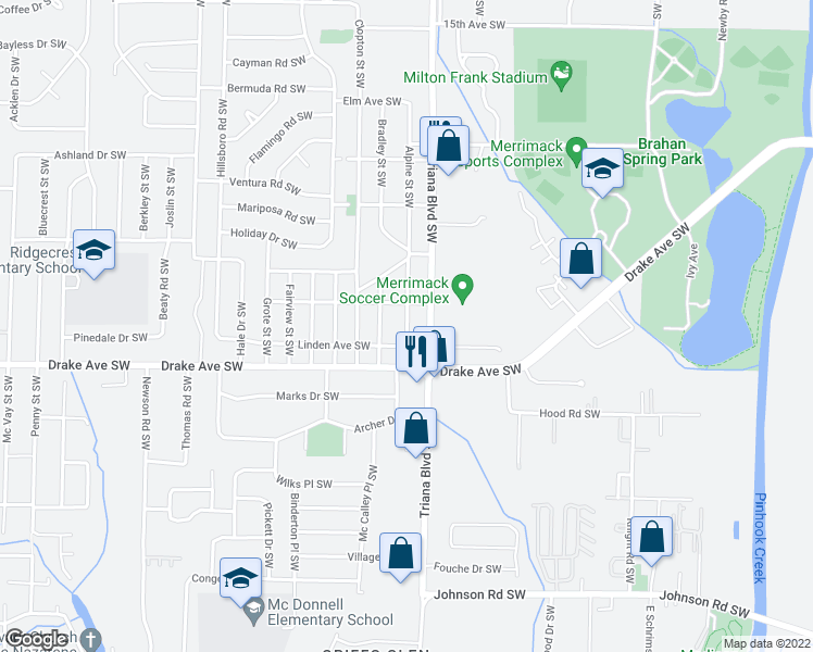 map of restaurants, bars, coffee shops, grocery stores, and more near 3610 Alpine Street Southwest in Huntsville