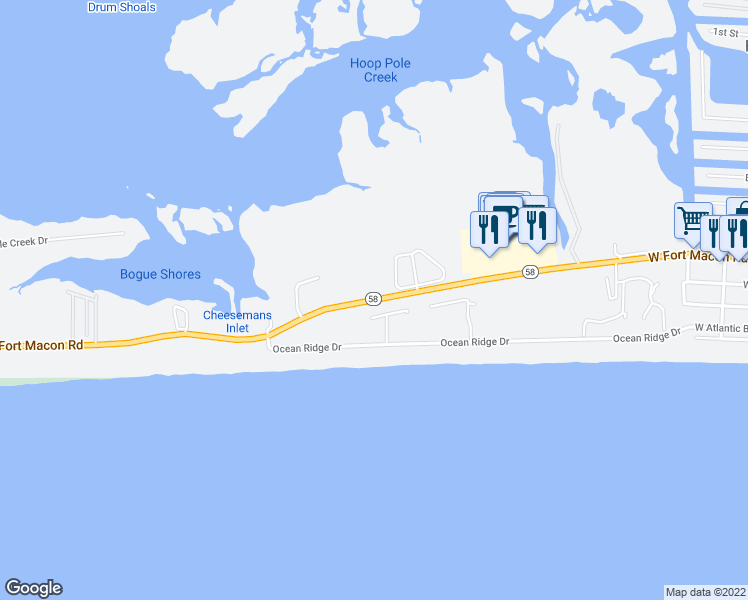 map of restaurants, bars, coffee shops, grocery stores, and more near West Fort Macon Road in Atlantic Beach