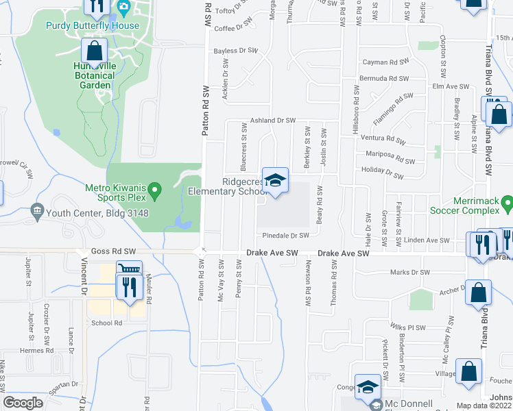map of restaurants, bars, coffee shops, grocery stores, and more near 3531-3623 Cerro Vista Drive Southwest in Huntsville