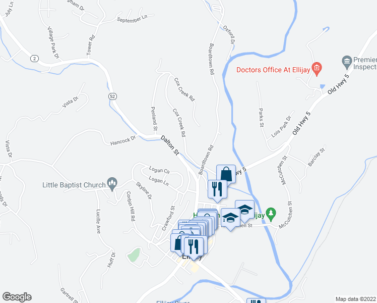 map of restaurants, bars, coffee shops, grocery stores, and more near 111 Cox Creek Road in Ellijay