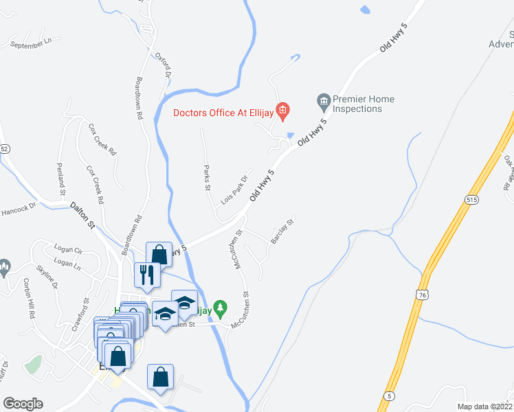 map of restaurants, bars, coffee shops, grocery stores, and more near Old Highway 5 North in Ellijay