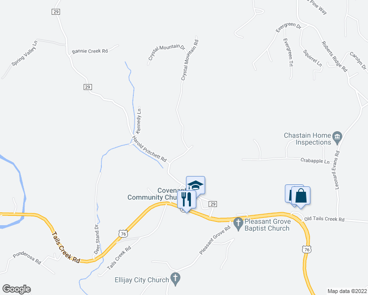 map of restaurants, bars, coffee shops, grocery stores, and more near 16 North Church Street in Ellijay