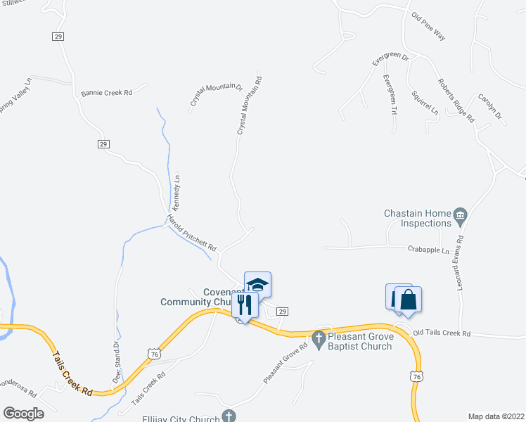 map of restaurants, bars, coffee shops, grocery stores, and more near 111 Blue Jay Lane in Ellijay