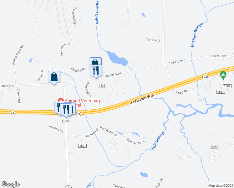 map of restaurants, bars, coffee shops, grocery stores, and more near Bell Ridge Lane in Onslow County