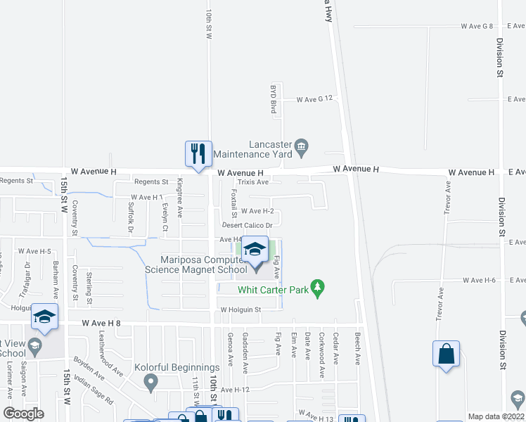 map of restaurants, bars, coffee shops, grocery stores, and more near 705 Desert Calico Drive in Lancaster
