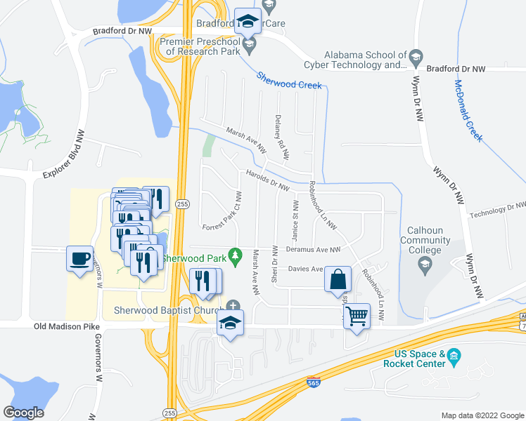 map of restaurants, bars, coffee shops, grocery stores, and more near 6512 Marsh Avenue Northwest in Huntsville