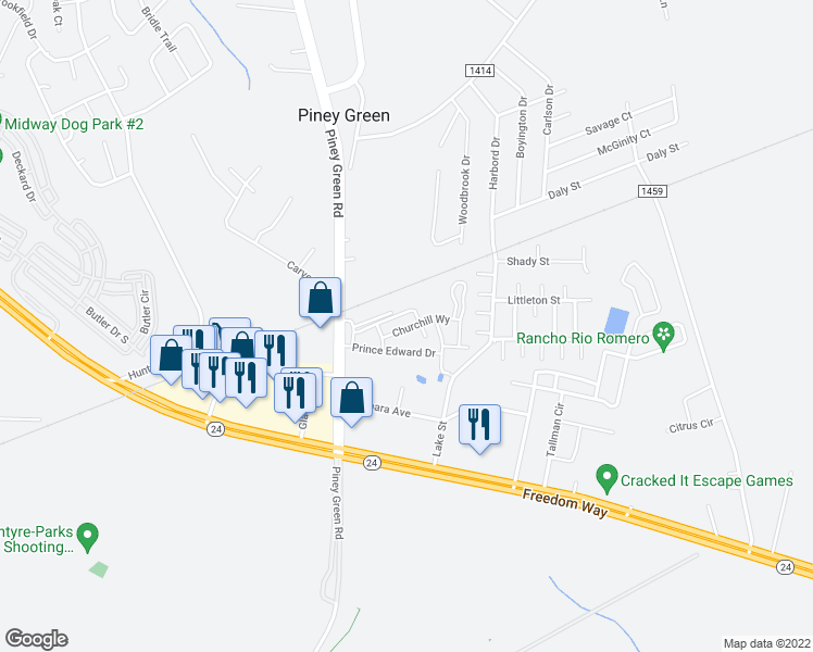 map of restaurants, bars, coffee shops, grocery stores, and more near 1000 Yorktown Lane in Piney Green