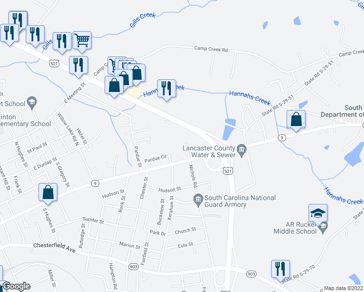 map of restaurants, bars, coffee shops, grocery stores, and more near 216 Nichols Road in Lancaster