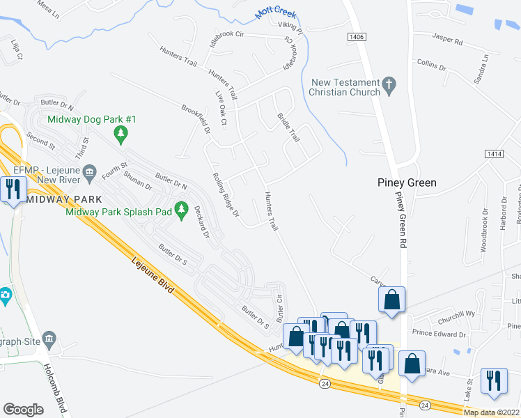 map of restaurants, bars, coffee shops, grocery stores, and more near 1508 Tramway Court in Piney Green