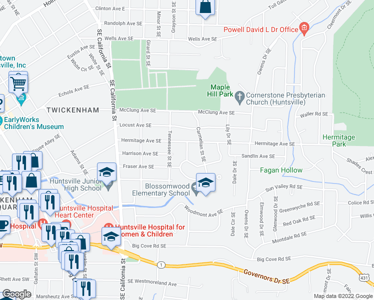map of restaurants, bars, coffee shops, grocery stores, and more near Lexington Street in Huntsville