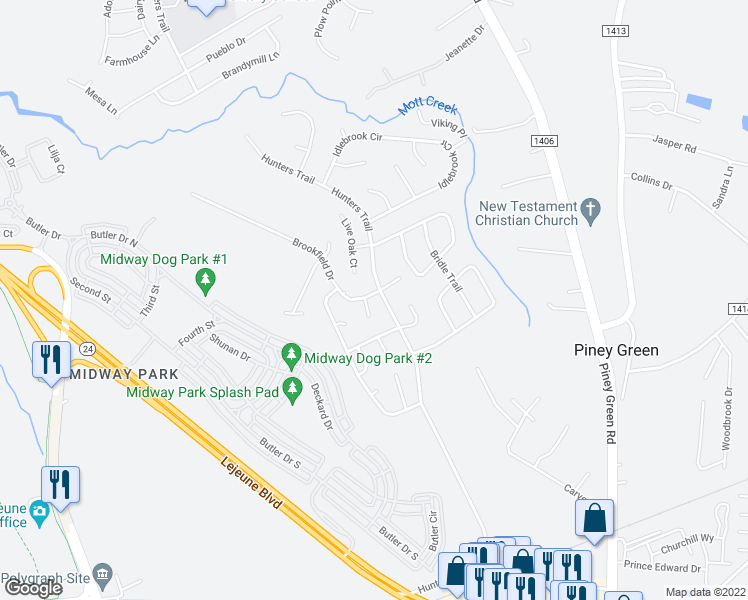 map of restaurants, bars, coffee shops, grocery stores, and more near 2705 Brookfield Drive in Piney Green