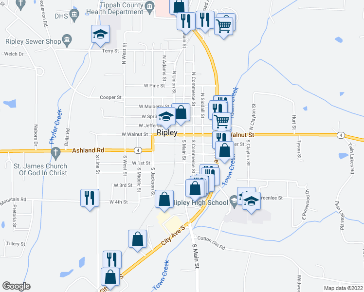 map of restaurants, bars, coffee shops, grocery stores, and more near in Ripley