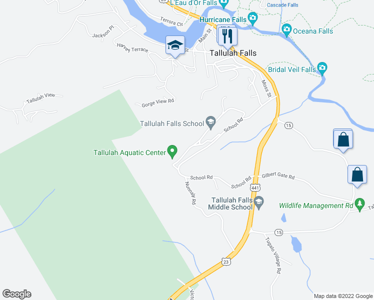 map of restaurants, bars, coffee shops, grocery stores, and more near Tallulah Falls School Road in Clarkesville