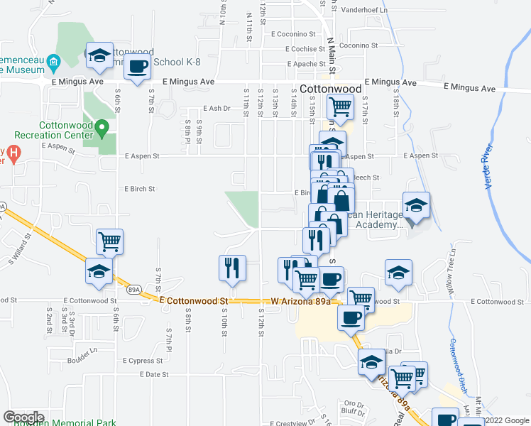 map of restaurants, bars, coffee shops, grocery stores, and more near 355 South 12th Street in Cottonwood