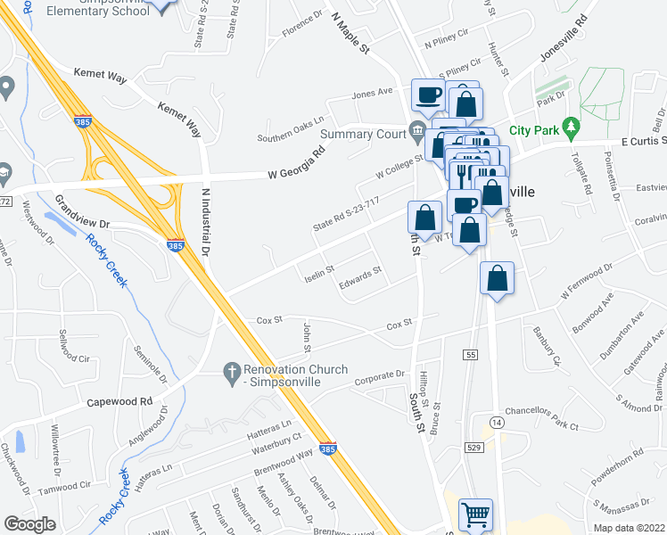 map of restaurants, bars, coffee shops, grocery stores, and more near Iselin Street in Simpsonville