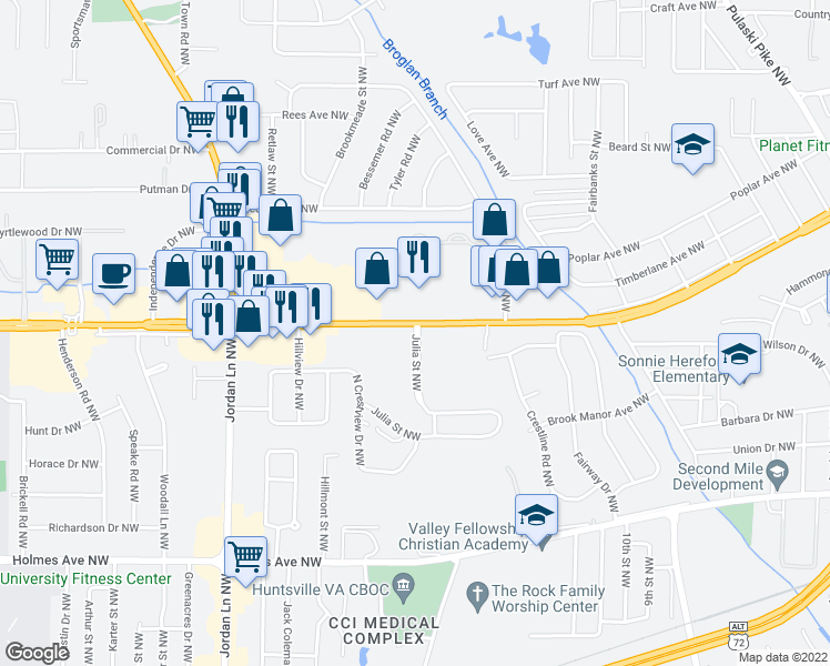 map of restaurants, bars, coffee shops, grocery stores, and more near 3772 University Drive Northwest in Huntsville