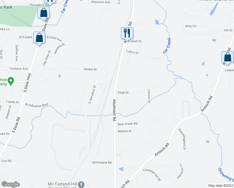 map of restaurants, bars, coffee shops, grocery stores, and more near 463 Virgil Drive in Dalton