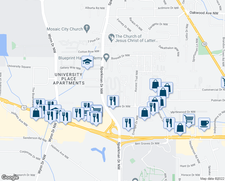 map of restaurants, bars, coffee shops, grocery stores, and more near 1500 Sparkman Drive Northwest in Huntsville