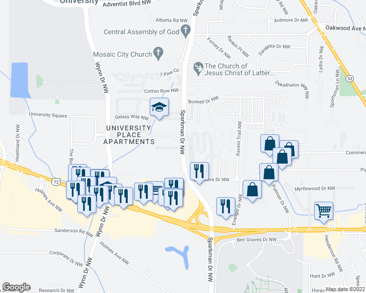 map of restaurants, bars, coffee shops, grocery stores, and more near 1525 Sparkman Drive Northwest in Huntsville
